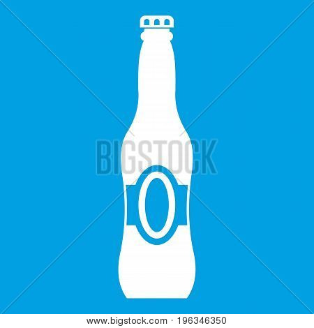 Bottle of beer icon white isolated on blue background vector illustration