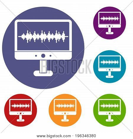 Sound waves icons set in flat circle red, blue and green color for web