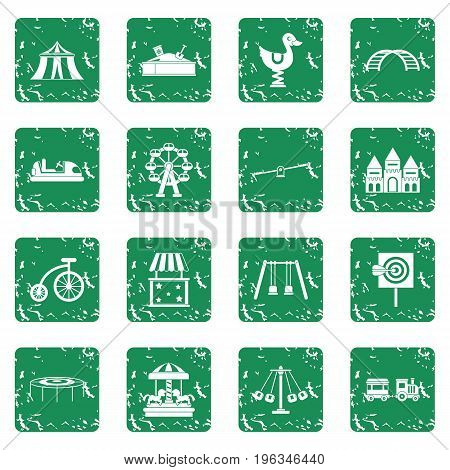Amusement park icons set in grunge style green isolated vector illustration