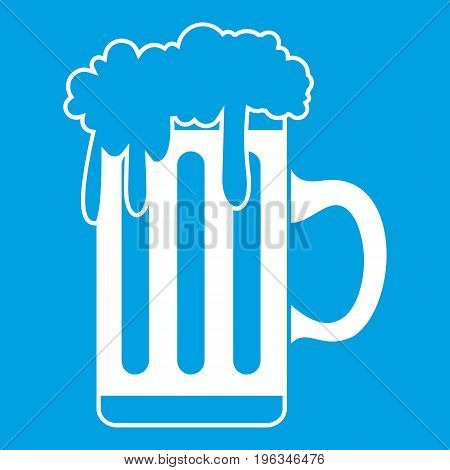 Mug with beer icon white isolated on blue background vector illustration