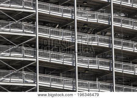 Large gray or silver metal stadium stairs I