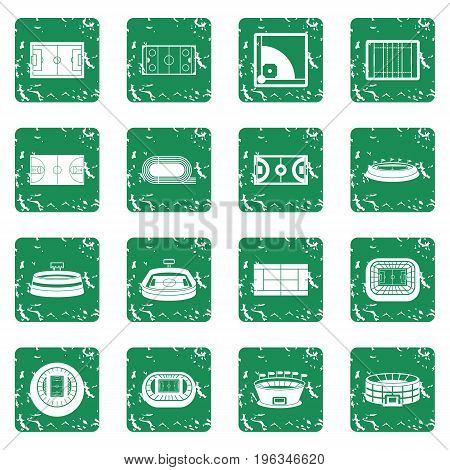 Sport stadium icons set in grunge style green isolated vector illustration