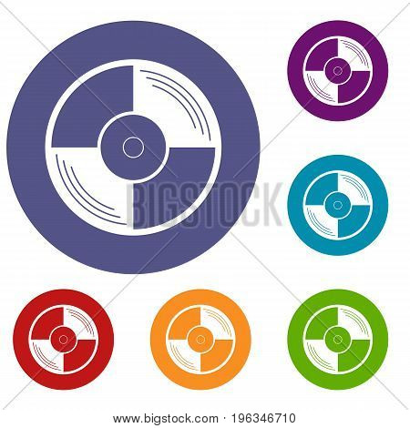 Vinyl record icons set in flat circle red, blue and green color for web