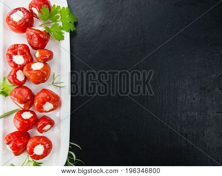 Slate Slab With Stuffed Bell Pepper