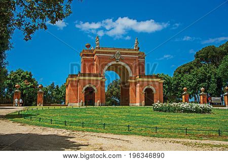 Unusual facade of theater in the Villa Pamphili Park on a sunny day in Rome, the incredible city of the Ancient Era, known as
