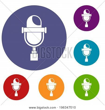 Retro microphone icons set in flat circle red, blue and green color for web