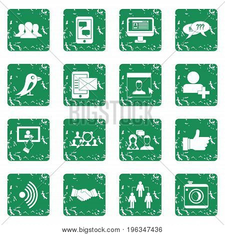 Social network icons set in grunge style green isolated vector illustration