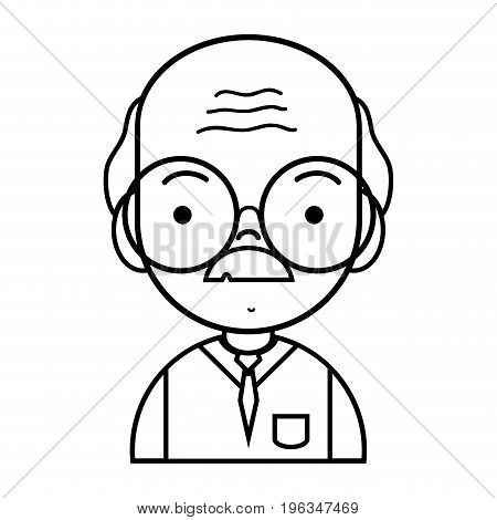 line old man teacher with glasses and uniform clothes vector illustration