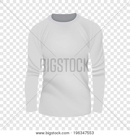 White tshirt long sleeve mockup. Realistic illustration of white tshirt long sleeve vector mockup for web