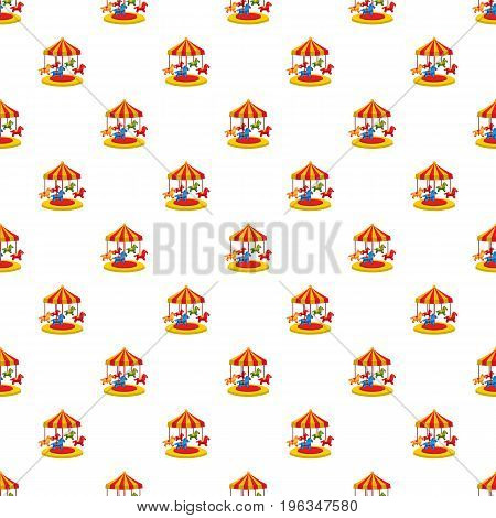 Carousel with horses pattern seamless repeat in cartoon style vector illustration