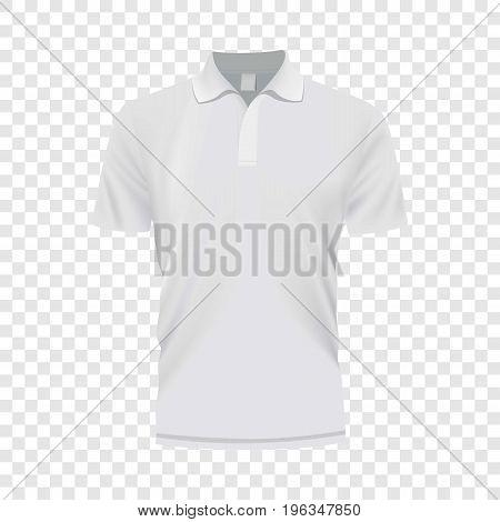 White polo shirt mockup. Realistic illustration of white polo shirt vector mockup for web