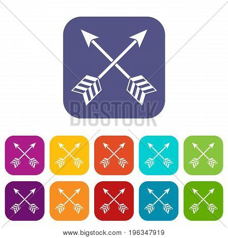 Arrows LGBT icons set vector illustration in flat style in colors red, blue, green, and other