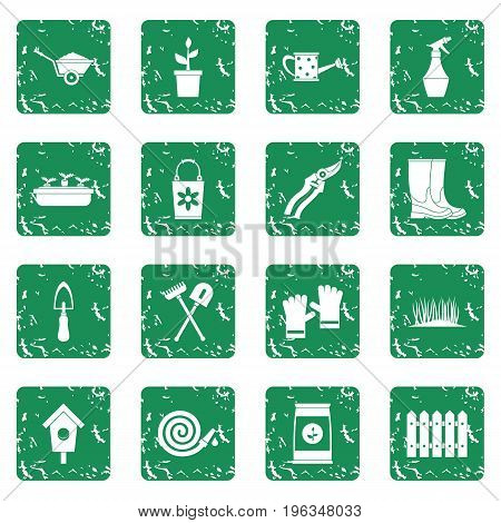 Gardening icons set in grunge style green isolated vector illustration