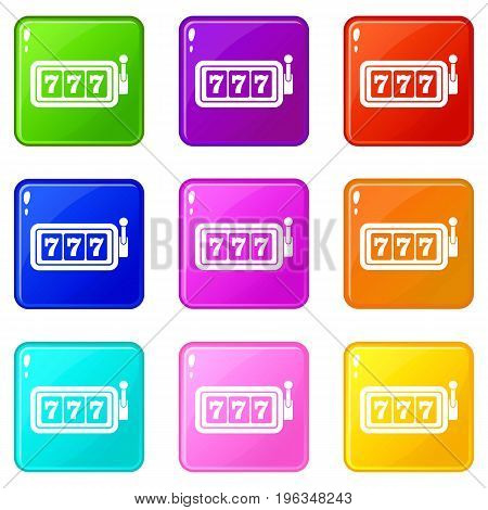 Lucky seven on slot machine icons of 9 color set isolated vector illustration
