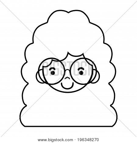 line girl face with glasses and hairstyle design vector illustration