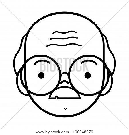 line old man face with glasses and mustache vector illustration