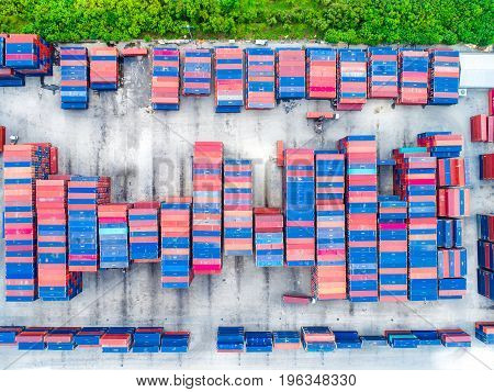 Aerial top view of cargo container shpping for export import business in logistic industry