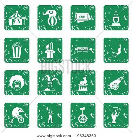 Circus entertainment icons set in grunge style green isolated vector illustration