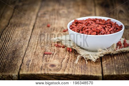 Goji Berries (selective Focus) On Vintage Wooden Background