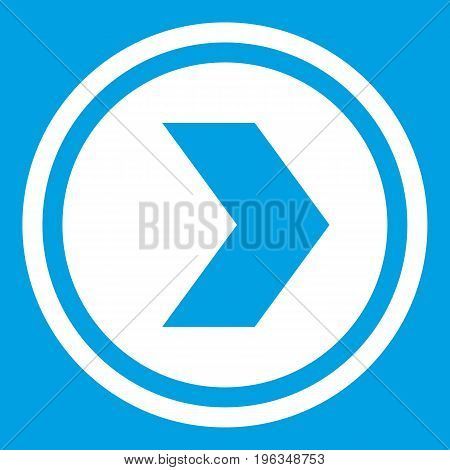 Arrow to right in circle icon white isolated on blue background vector illustration