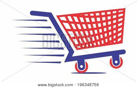 Vector Supermarket Trolley Icon Symbol in Red and Blue