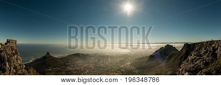 Aerial view of Cape Town South Africa (view from the table mountain) early in the morning