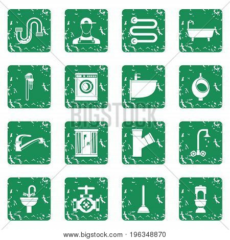 Plumbing icons set in grunge style green isolated vector illustration