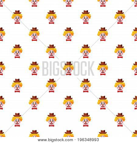 Clown face with hat pattern seamless repeat in cartoon style vector illustration