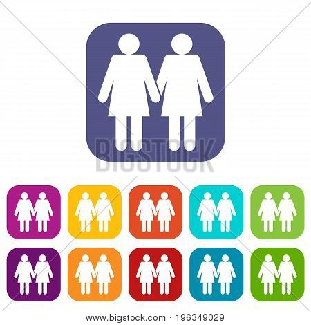 Two girls lesbians icons set vector illustration in flat style in colors red, blue, green, and other