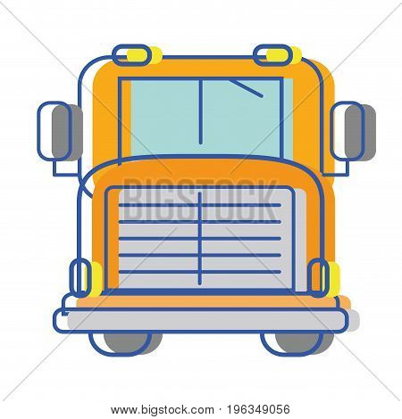 yellow school bus to children transportation vector illustration