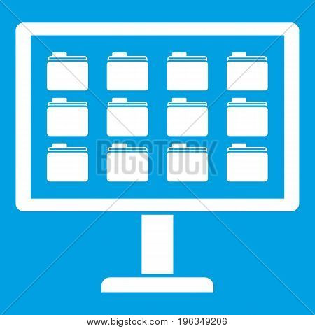 Desktop of computer with folders icon white isolated on blue background vector illustration