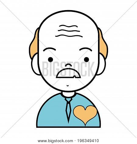 old man with mustache and t-shirt clothes vector illustration