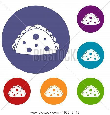 Empanada, cheburek or calzone icons set in flat circle red, blue and green color for web