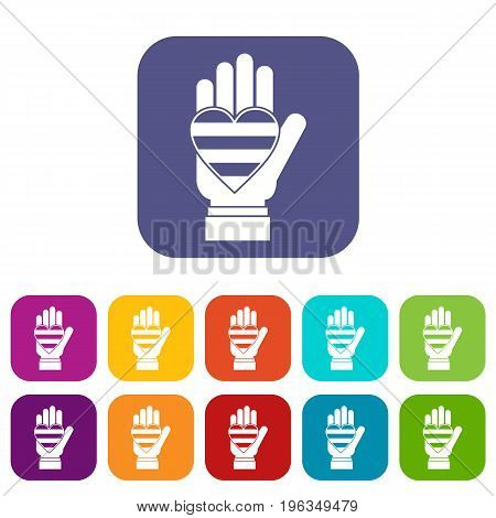 Hand holding heart of LGBT icons set vector illustration in flat style in colors red, blue, green, and other