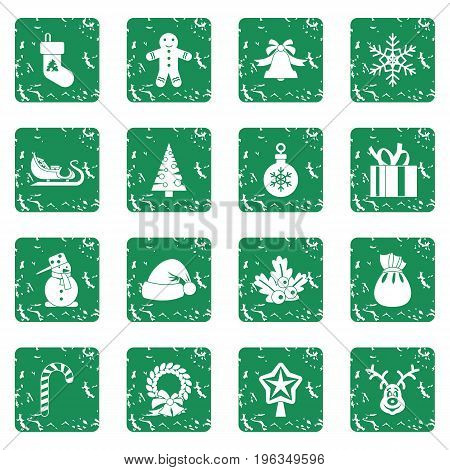 Christmas icons set in grunge style green isolated vector illustration