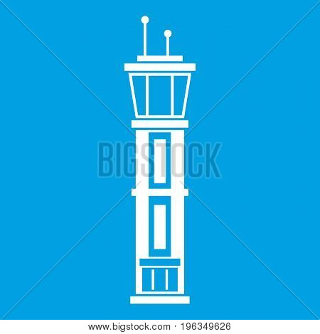 Airport control tower icon white isolated on blue background vector illustration