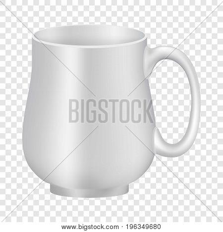 White empty mug mockup. Realistic illustration of white empty mug vector mockup for web