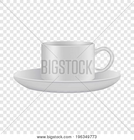 White cup and saucer mockup. Realistic illustration of white cup and saucer vector mockup for web