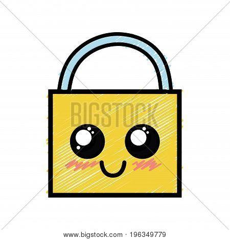 kawaii cute happy padlock security vector illustration