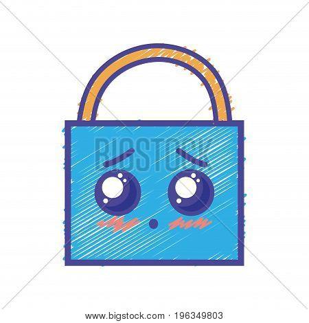 kawaii cute tender padlock security vector illustration