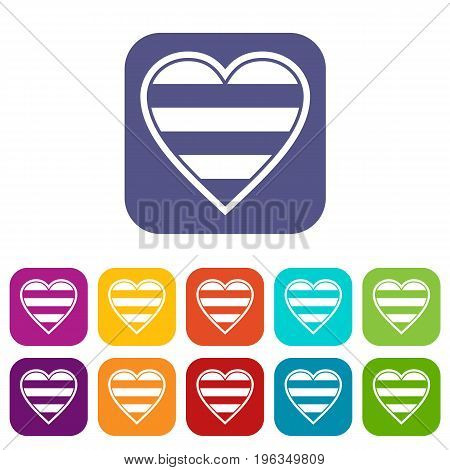 Heart LGBT icons set vector illustration in flat style in colors red, blue, green, and other
