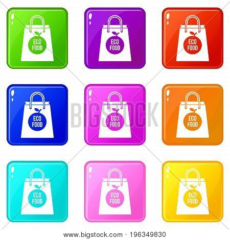Eco food bag icons of 9 color set isolated vector illustration