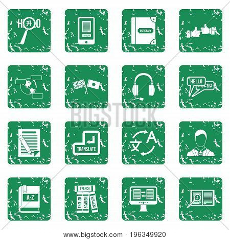 Learning foreign languages icons set in grunge style green isolated vector illustration