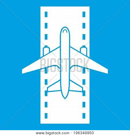 Airplane on the runway icon white isolated on blue background vector illustration