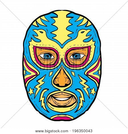 Illustration of a Luchador Mask with Eagle Star and Lightning Bolt viewed from front done in Drawing hand-sketched style on isolated background