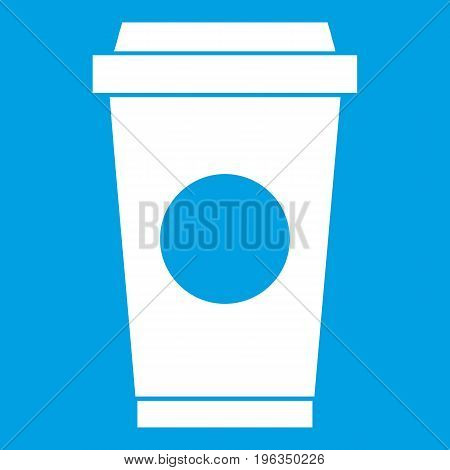 Coffee in take away cup icon white isolated on blue background vector illustration