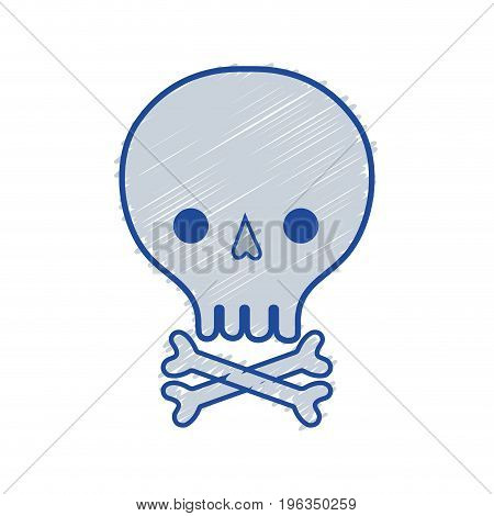 skull with bones to danger and warning symbol vector illustration