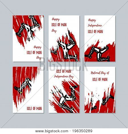 Isle Of Man Patriotic Cards For National Day. Expressive Brush Stroke In National Flag Colors On Whi