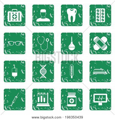 Medicine icons set in grunge style green isolated vector illustration