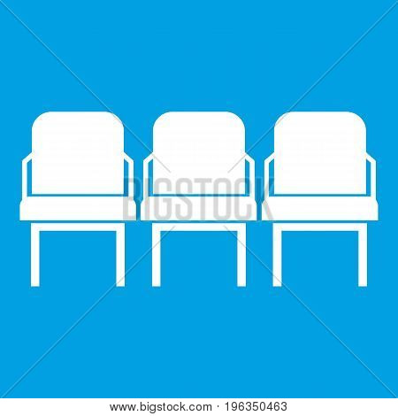 Chairs in the departure hall at airport icon white isolated on blue background vector illustration